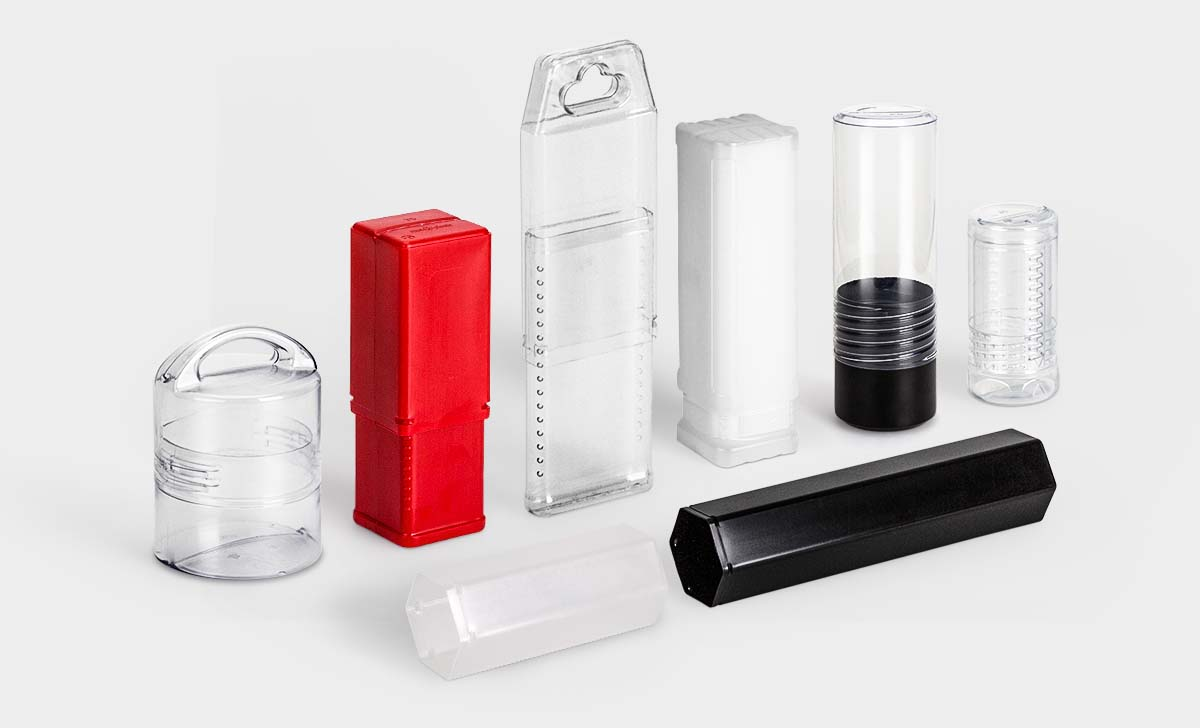 A selection of rose plastic plastic packaging tubes.